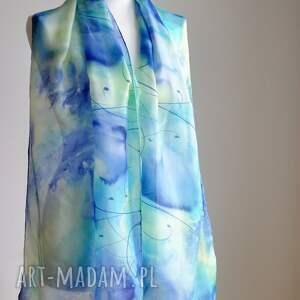 Malowany Jedwab szal - maki i łąka z roślinami - ręcznie szalik