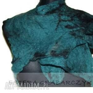 szaliki: morska zieleń filcowy kołnierz morski