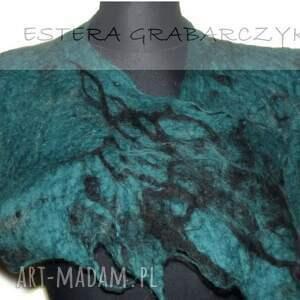 unikalne szaliki szalik morska zieleń-filcowy kołnierz