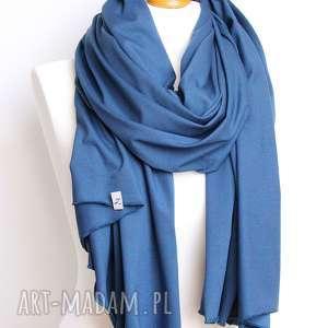 szaliki szalik niebieski szal bawełniany