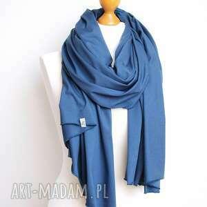 niepowtarzalne szaliki szalik niebieski szal bawełniany