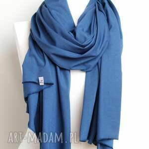 niepowtarzalne szaliki szal niebieski szalik bawełniany