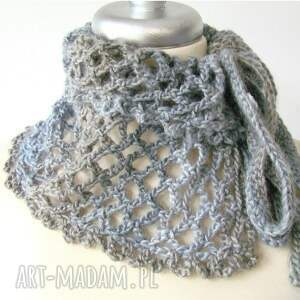szaliki otulak otulacz ażurowy w szarościach