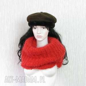 oversize - czerwony szeroki szal