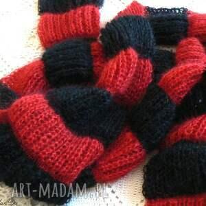 szaliki czerwono-czarny pasiasty szalik