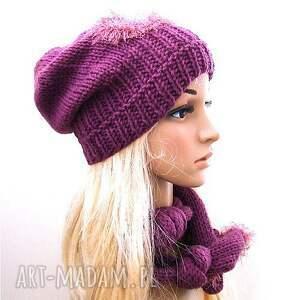 szaliki szalik komplet fioletowy - czapka