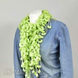 hand made szaliki pistacja pom-pon scarf -