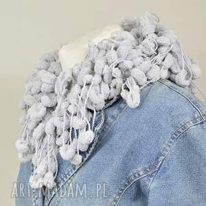 szaliki szal pom pon scarf - szary