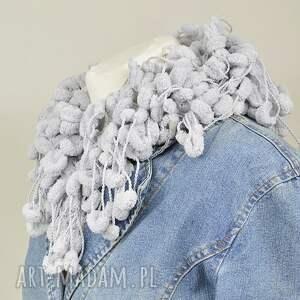 szaliki szal pom-pon scarf - szary
