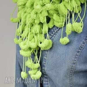 szaliki pom pon scarf - pistacja