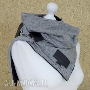 handmade szaliki tuba szal dresowy ze skórą - szary
