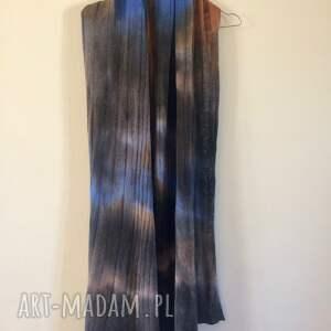 szaliki: Ręcznie barwiony szal z jagnięcej wełny - szalik dzianina