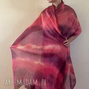 szaliki: Ręcznie barwiony duży lniany szal