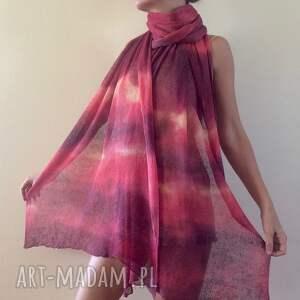 atrakcyjne szaliki szal ręcznie barwiony duży lniany