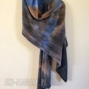 szaliki: Ręcznie barwiony szal z jagnięcej wełny - szalik zimowy