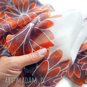 szal jedwabny szaliki brązowe ręcznie malowany rudbekie