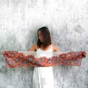 szaliki rudbekia ręcznie malowany szal rudbekie