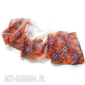 pomarańczowe szaliki szalik brązowy szal jedwabny, ręcznie malowany w kwiaty