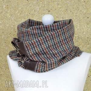 ramiona szaliki szal, chusta, ponczo w kratk&#281