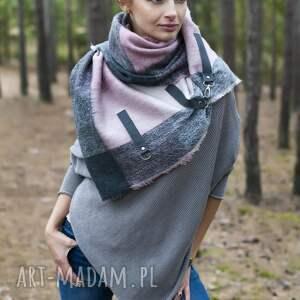 szal szaliki różowe szal, chusta, ponczo w kratkę