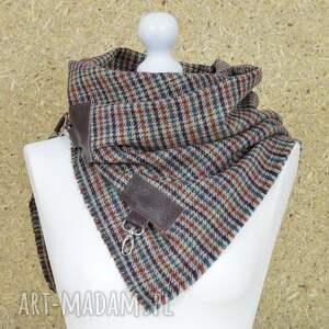 szaliki ramiona szal, chusta, ponczo w kratk&#281