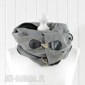 skóra szaliki szal czarno -biały z naturalną