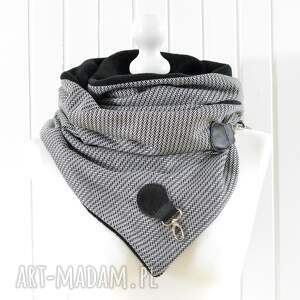 oryginalne szaliki szal czarno -biały z naturalną