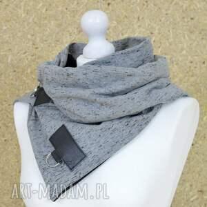 tuba szaliki szal dresowy ze skórą - szary