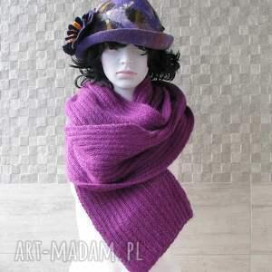 zima szaliki szal fioletowo - purpurowy