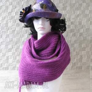 szaliki zima szal fioletowo - purpurowy