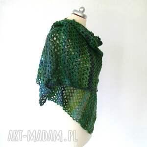 szaliki szal duży, ażurowy, wykonany ręcznie