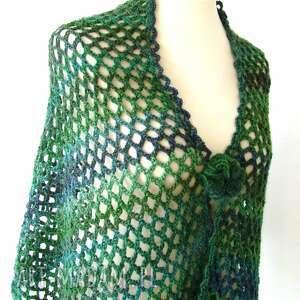 ażur szaliki szal gigant w zieleniach