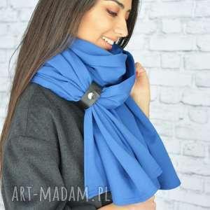 handmade szaliki szal niebieski ciepły mega duży zimowy. wykonany
