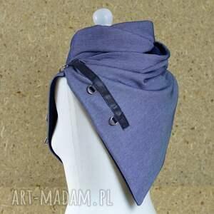niebieskie szaliki szal niebieski z granatową skórą