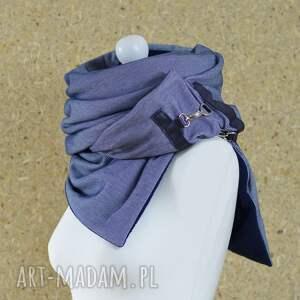 hand-made szaliki szalik szal niebieski z granatową skórą