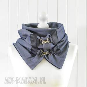 szaliki jeansowy szal niebieski z granatową skórą