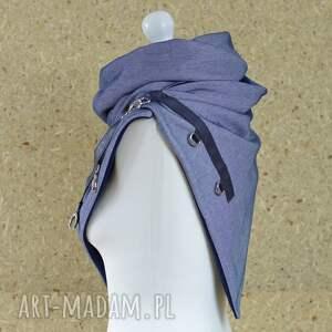 szalik szaliki szal niebieski z granatową skórą