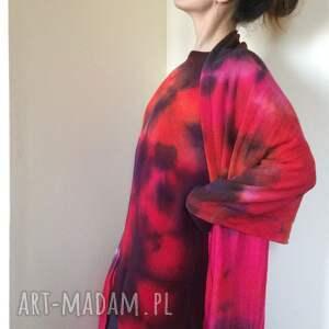 handmade szaliki prezent ognisty wełniany szal