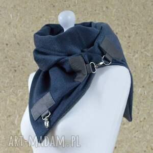 oryginalne szaliki szal przygaszony niebieski z szarą