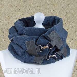 gołębi szaliki szal przygaszony niebieski z szarą