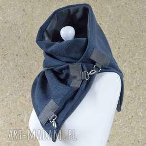 szare szaliki szal przygaszony niebieski z szarą