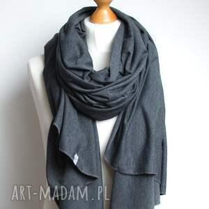 unikatowe szaliki szal szal, szalik bawełniany grafitowy