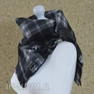 czarne szaliki chusta szal w kratę ze skórą, komin unisex