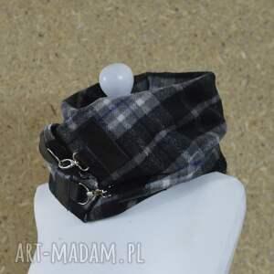 szaliki otulacz szal w kratę ze skórą, komin unisex