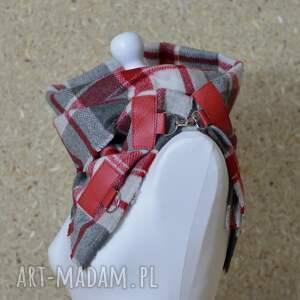wyjątkowe szaliki szal w kratę ze skórą, komin unisex