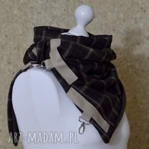 awangardowe szaliki szal wełniany ze skórą, unisex