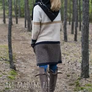 ręcznie wykonane szaliki szal wełniany ze skórą - czarny