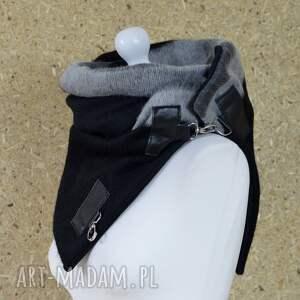 niekonwencjonalne szaliki szal wełniany ze skórą - czarny