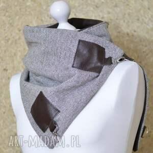 ręcznie wykonane szaliki szal wełniany ze skórą, komin