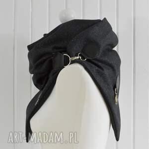 szaliki chusta szal wełniany ze skórą, brokatowa